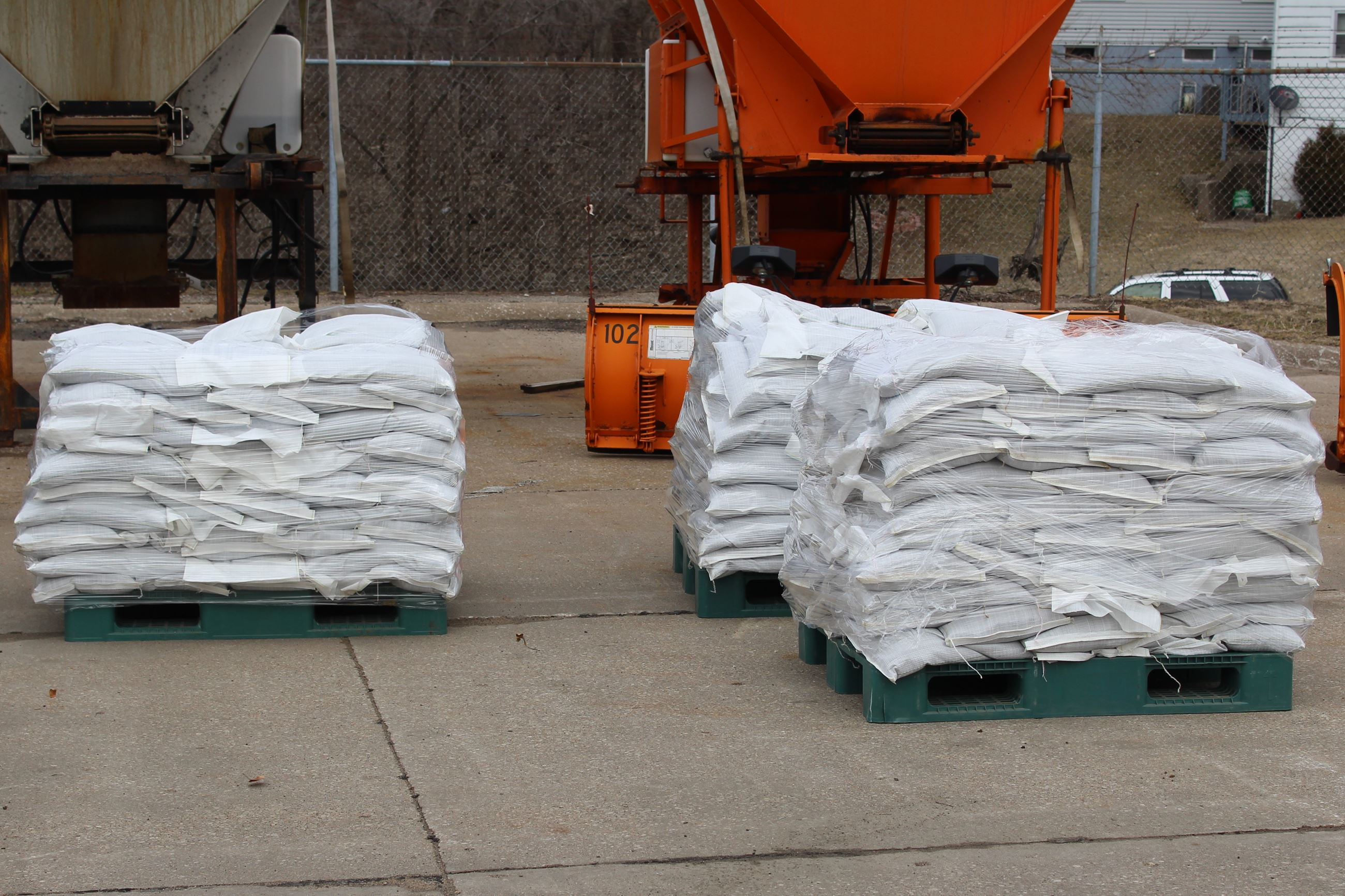 Pallets of sand bags prepared for use 03-14-19 (JPG)