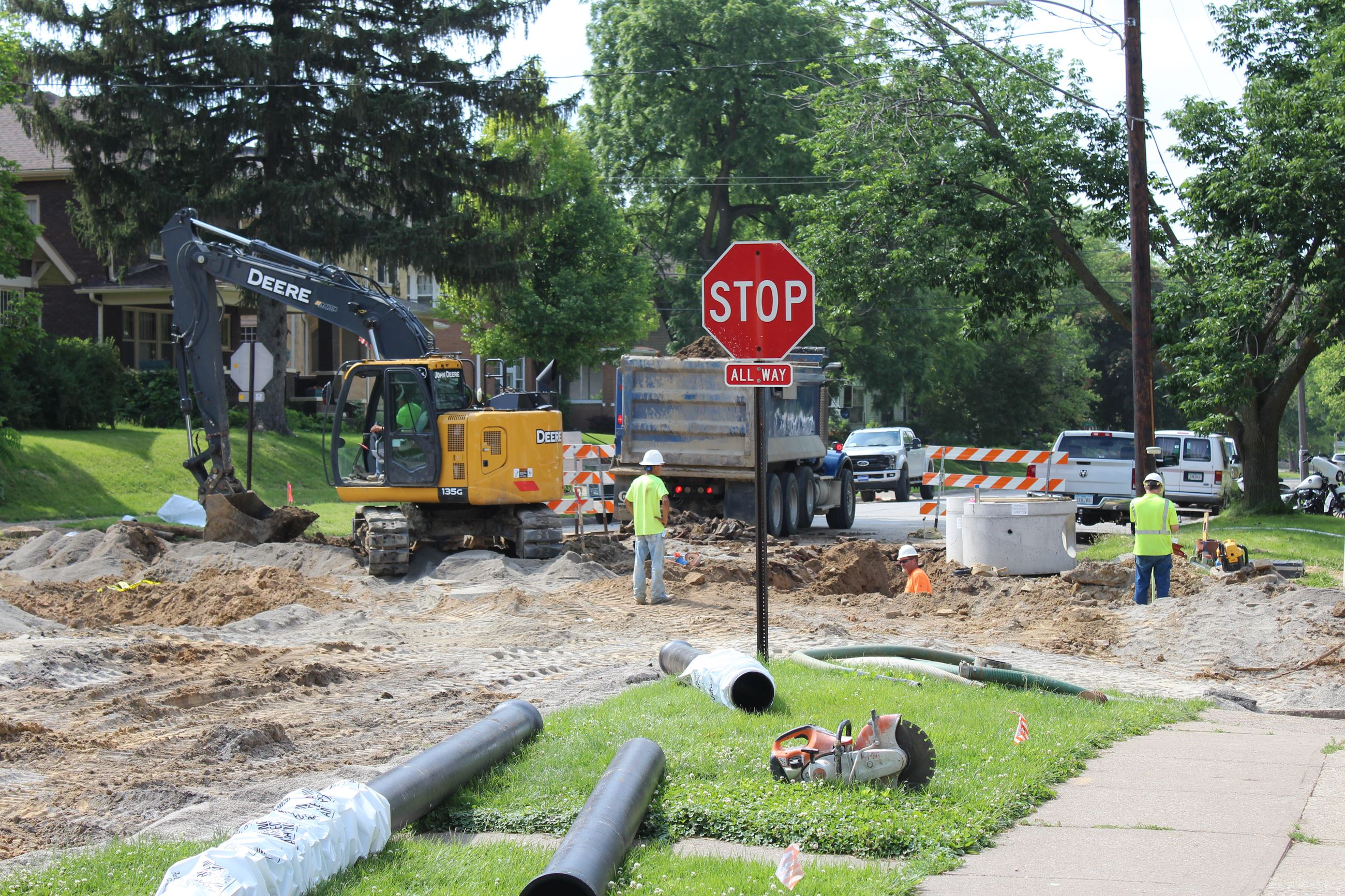 Work continues on Phase 4B of West Hill Sewer Separation June 6, 2019 (JPG)