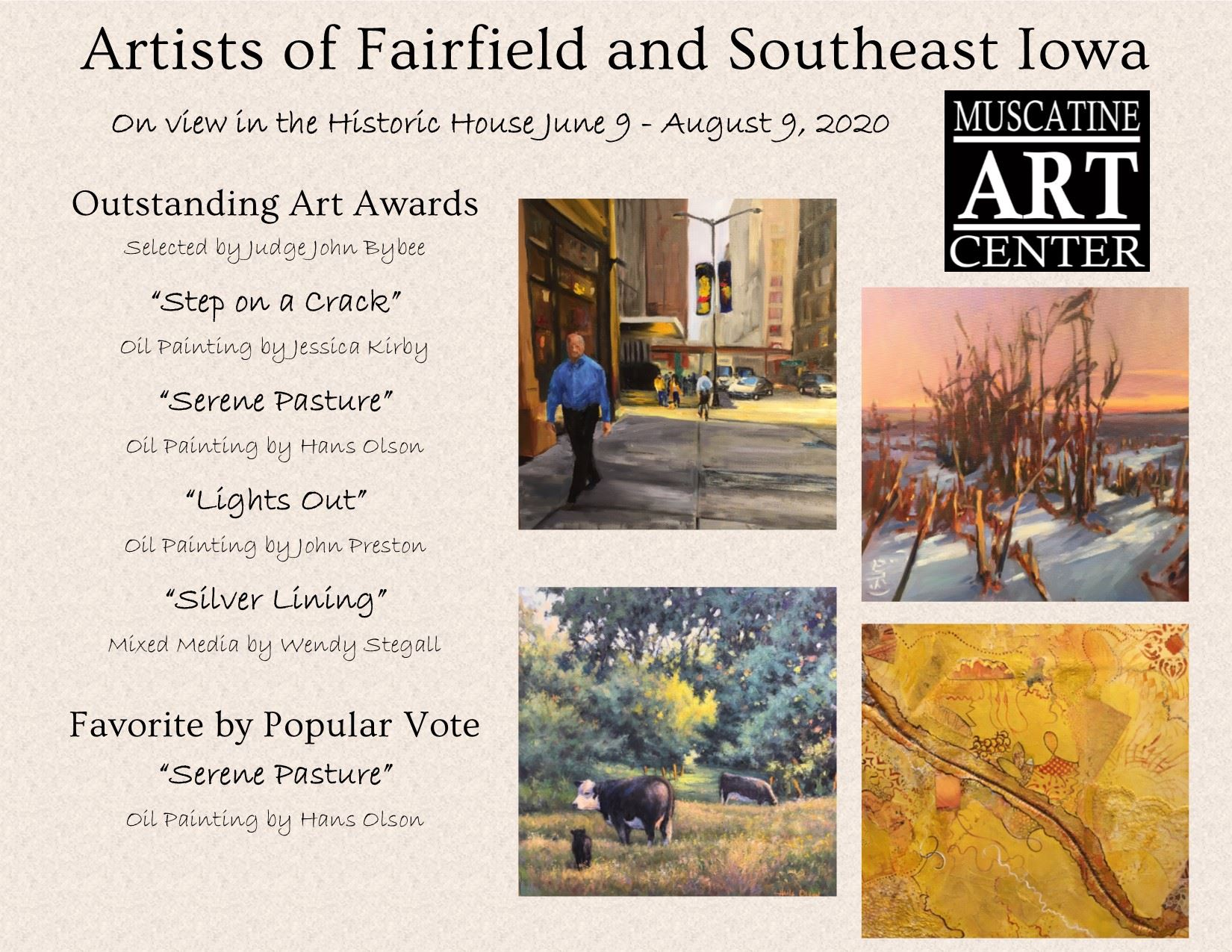 Artists of Fairfield and Southeast Iowa June 9 - August 9, 2020
