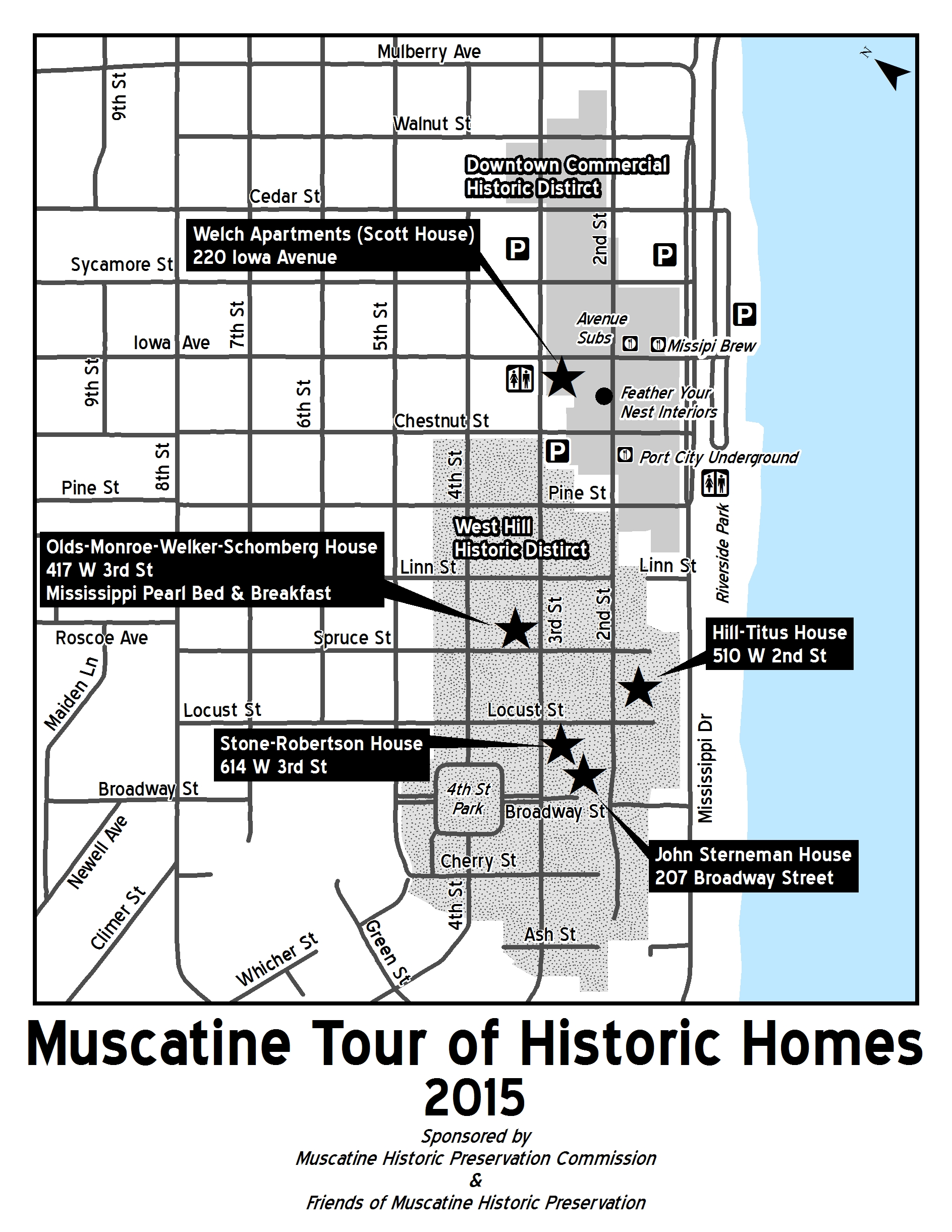 Muscatine Tour of Historic Homes Black and white map