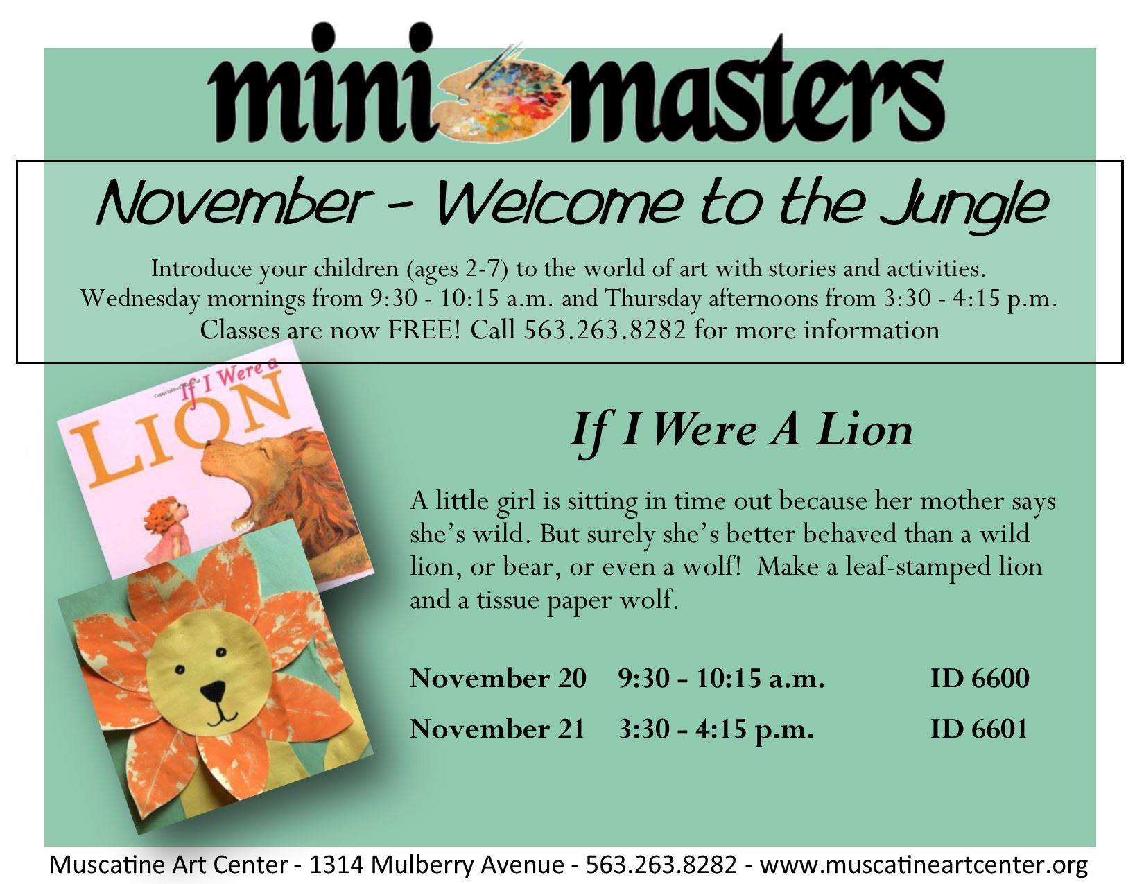 November 20-21 - If I Were A Lion - mini masters