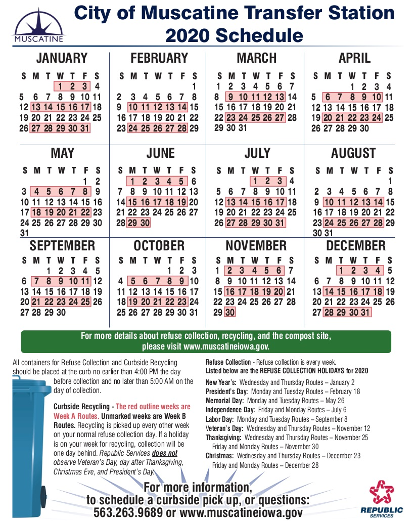 2020 Recycling Schedule - Calendar (JPG)