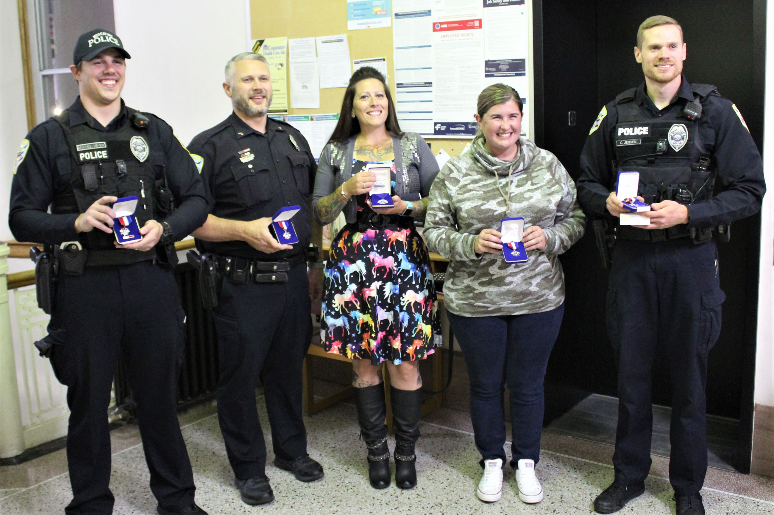 100120 MPD Awards to Schollmeyer, Fowler, Colman, Pena, and Jensen (JPG)