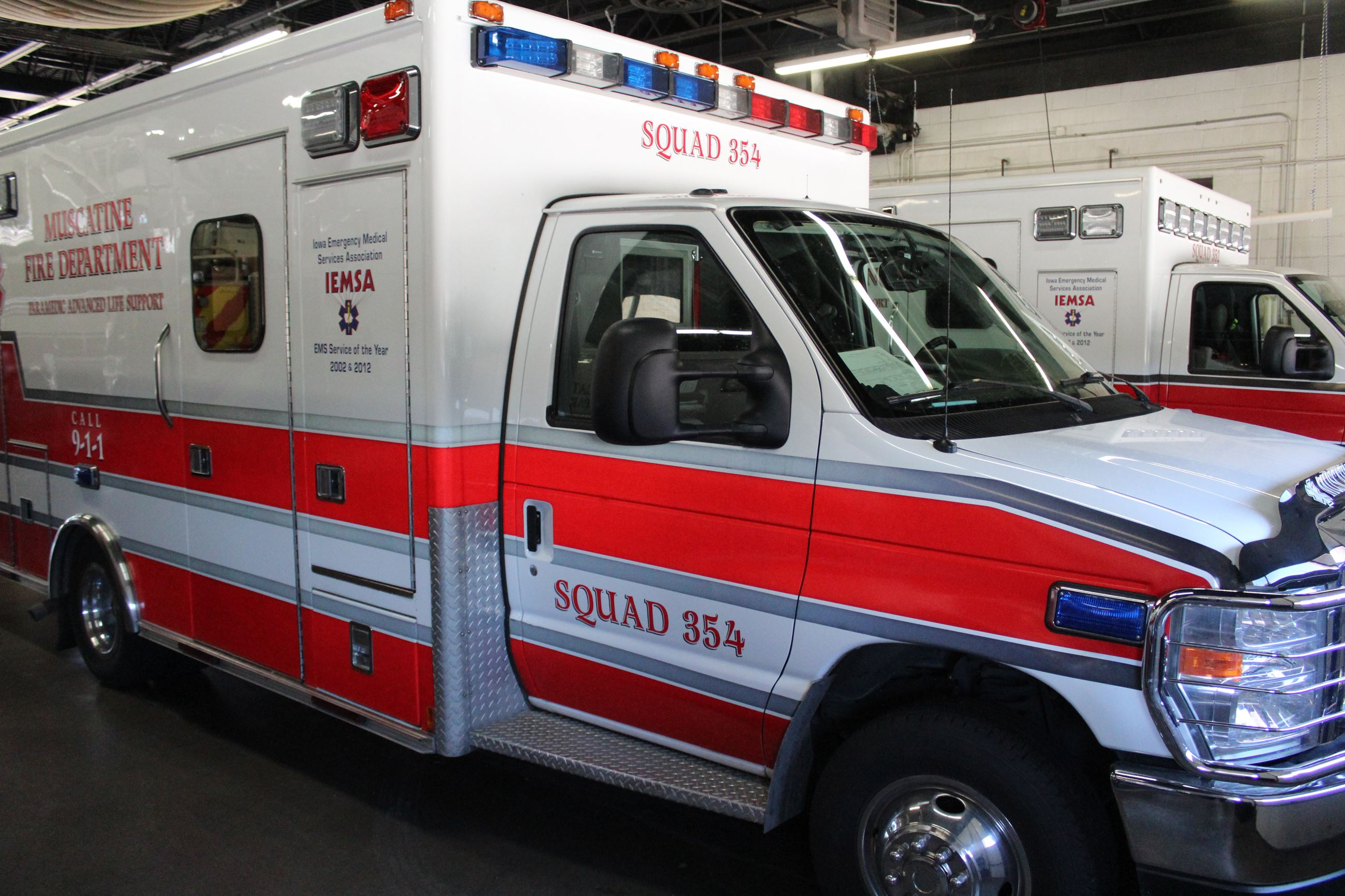 072320 Ambulance Type 1 Squad 354 exterior in bay (JPG)